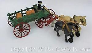 Vintage Kenton Iron 2 Horse Stake Cart with Driver