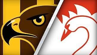 Hawthorn vs Sydney AFL 2 x General Admission Tickets 28 July 2017