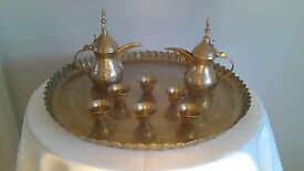 """Vintage Solid Brass Dallah Coffee Pots (2) With Brass Cups And Solid Brass 17"""" Round Tray."""