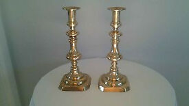 Pair Of Old Brass Candlestick Holders With Working Candle Stub Ejectors.