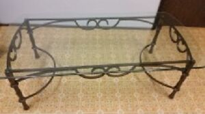 Wrought Iron and Glass Coffee Table and 1 matching end table