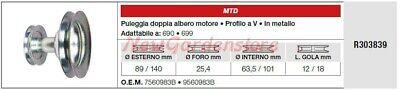 Polea Doble Árbol Motor MTD Tractor Podadora Cortacésped 690 699 R303839