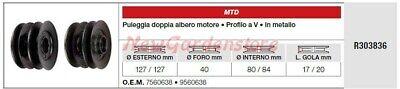 Polea Doble Árbol Motor MTD Tractor Podadora Cortacésped R303836