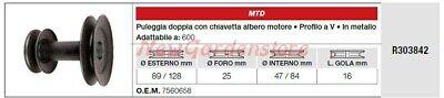 Polea Doble Árbol Motor MTD Tractor Podadora Cortacésped 600 R303842
