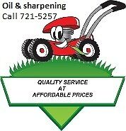Lawnmower - blade sharpening & oil change combo - $25 no tax.