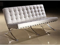 Barcelona 3 seater sofa in white leather
