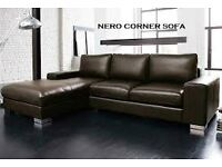BRAND NEW NERO LEATHER CORNER SOFA BLACK OR CHOCOLATE BROWN + DELIVERY