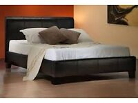 Brand new black faux leather double bed frame with quality ortho mattress. Free delivery