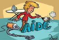 Aide à domicile+surveiller parfois per. âgée - on offre appart