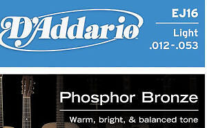 D'AddarioPhospher Bronze light acoustic guitar strings