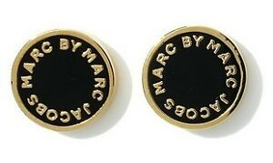 New-Marc-by-M-Jacobs-Black-Disk-With-Gold-Letters-Style-Stub-Earrings