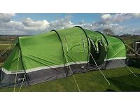 6 Person HI-Gear Zenobia Tunnel Tent. In excellent condition plus 3 camp beds