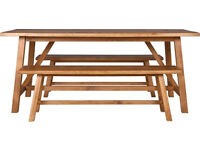 Canonbury Dining table and 2 Bech set - Solid Oak