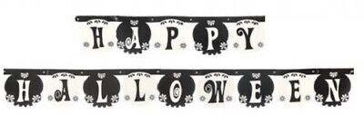 Long 2.3m Happy Halloween Black & White Party Banner Bunting Garland Decoration
