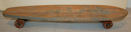Vintage Roller Derby Wood SKATEBOARD with CLAY WHEELS - Surfari / painted rare?