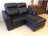 2 Seater reclining Leather Paloma Sofa brown, electric with chaise lounge £200