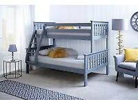 💖🔴QUICK DELIVERY ON DOOR STEP🔵Kids Bed Trio Wooden Bunk Bed In OAK Color Optional mattress