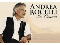 ANDREA BOCELLI TICKETS GOING FAST
