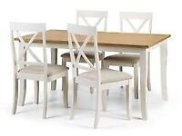 TABLE/4 CHAIRS AS NEW, UNUSED SELLING DUE TO HOUSE MOVE, WHITE OAK, COST£300 6 MONTHS AGO