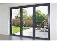 Bifold doors - brand new, open out, 7016 matt grey. black handles.