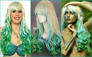 BRAND NEW: 80cm Long Ombre Green Blonde Curly Wig for MERMAID
