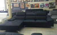 Top grain real leather sectional sofa on sale