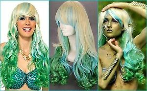 **SALE** NEW: 80cm Long Ombre Green Blonde Curly Wig for MERMAID
