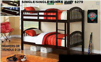 SINGLE OVER SINGLE BUNKBEDS-SEE MIKE FOR GREAT STYLES&PRICES