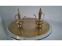 """Vintage Solid Brass 18"""" Round Tray With 2 Solid Brass Dallah Coffee Pots."""