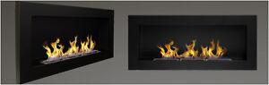 BIO ETHANOL FIREPLACE 900x400 BLACK MATT ECO FIRE BURNER + BIG FREE: 1L FUEL ...