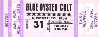 BLUE OYSTER CULT 1976 AGENTS OF FORTUNE TOUR UNUSED CONCERT TICKET No. 1 / NMT