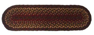 IHF Stair Tread Braided Rug Oval Shape Cinnamon Jute Fiber Wine Gold Sage 8