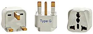 Grounded Universal Plug Adapter for UK/Ireland (Type G) - 3 Pack
