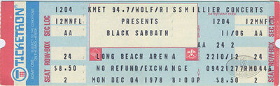 BLACK SABBATH & RAMONES 1978 Unused Concert Ticket OZZY OSBOURNE