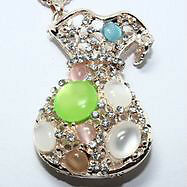 New- Betsey Johnson Collection Crystal/Enamel Handbag Necklace
