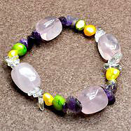 New- Amethyst, Pearl, Crystal, Rose Quartz Gem Stretchy Bracelet