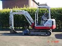 1.5 ton excavator and driver hire. £225.00 per day including delivery, collection and fuel.