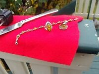 green amber and silver ring bracelet and pendant