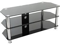TV Stand - Black Glass and Chrome