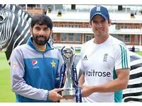 ** 2 Tickets for the England v Pakistan Lords Second ODI on 27th August 2016 ** Compton Stand **
