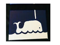3 canvases whale painting
