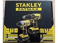 Stanley Fatmax 18V Li-ion Combi Drill & Impact Driver Twin Pk inc 2 Batts! * BRAND NEW*