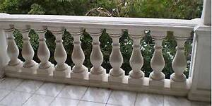 Custom Made White Cement Balustrades w/Top and Bottom Rails