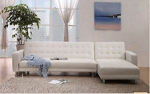 Modern Florence White leather L-Shape sofa Homebush West Strathfield Area Preview