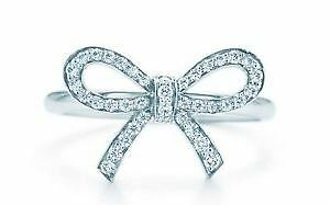Tiffany Bow in Platinum with Diamonds Necklace and Ring set