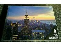 4 NYC new york city skyline empire state placemats USA table mats America