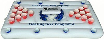 Inflatable Beer Pong Raft Table with Cooler - White - 6-Feet Long - Float
