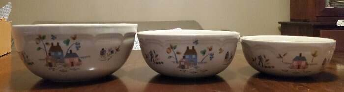 3 Vintage International Heartland Stoneware Mixing Bowls Set