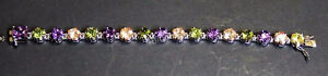 Ladies Multi Coloured Gemstone & Silver Bracelet