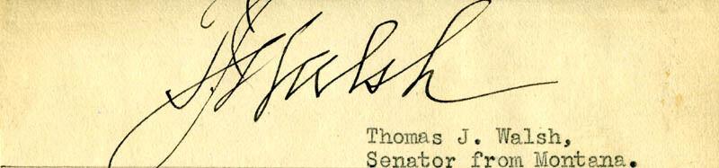 THOMAS JAMES WALSH - CLIPPED SIGNATURE